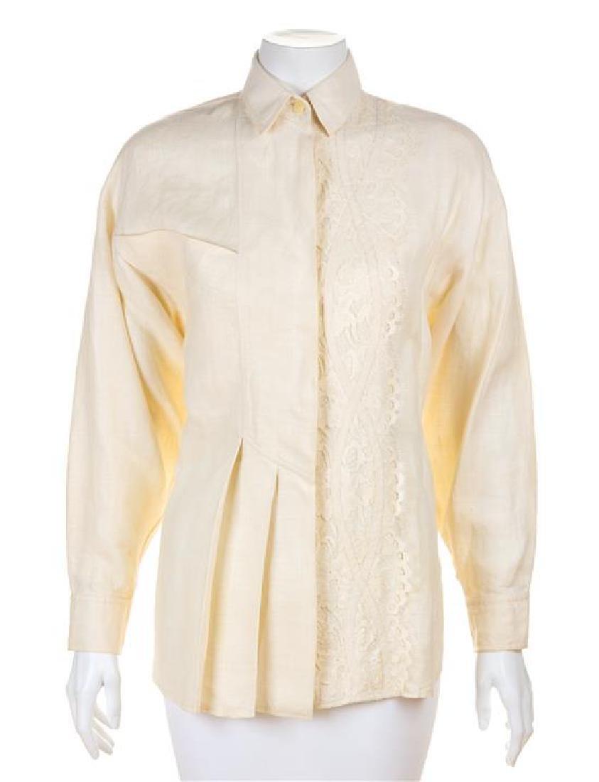 * A Koos Cream Linen Blouse, Size small.