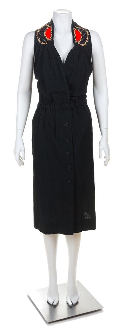 * A Koos Black Cotton Halter Dress, Size 12.