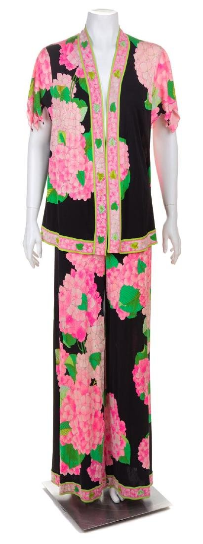 * A Leonard Pink and Green Silk Print Palazzo Pant and