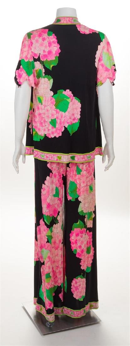* A Leonard Pink and Green Silk Print Palazzo Pant and - 2
