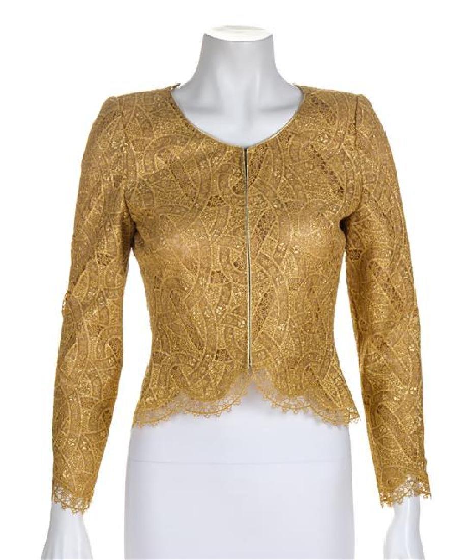 A Mary McFadden Gold Lace Bolero Jacket and Silk