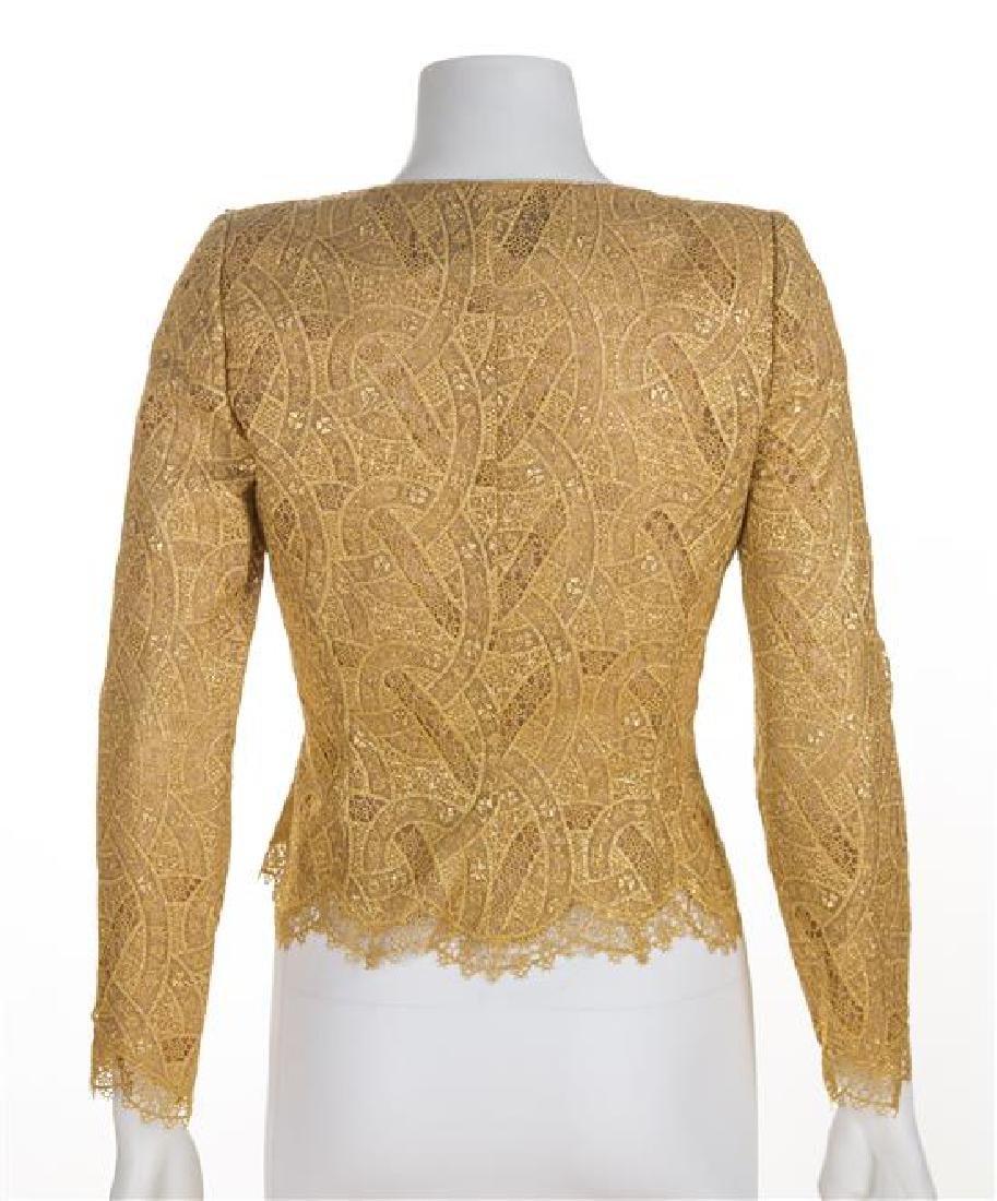 A Mary McFadden Gold Lace Bolero Jacket and Silk - 2