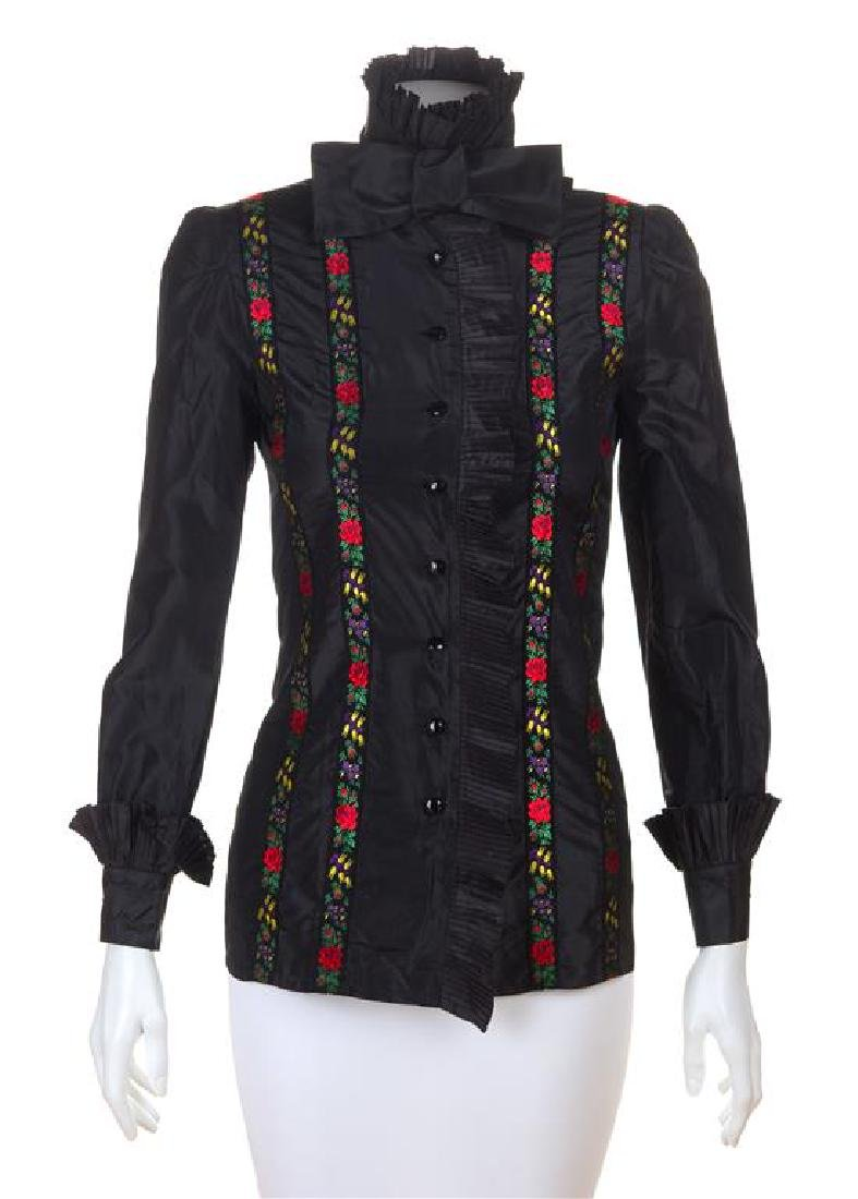 A Nina Ricci Black Silk Blouse, No size.