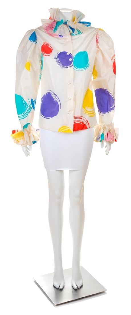 * An Oscar de la Renta Silk Multicolor Polka Dot