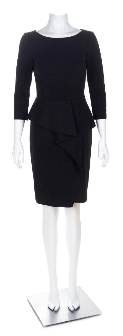 An Oscar de la Renta Black Wool Dress, Size 0.
