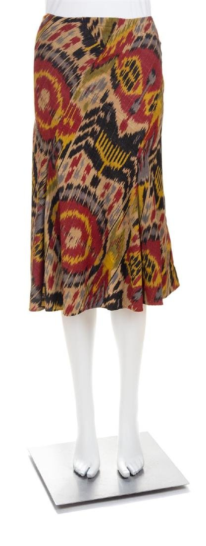An Oscar de la Renta Cotton and Silk Ikat Skirt, Size
