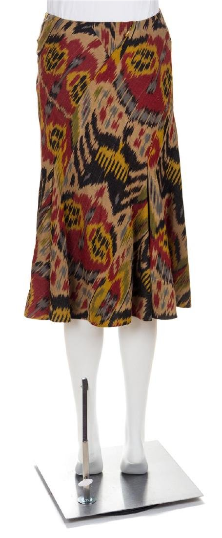 An Oscar de la Renta Cotton and Silk Ikat Skirt, Size - 2