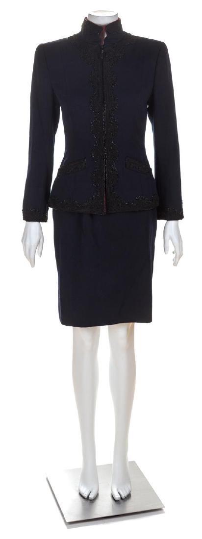 An Oscar de la Renta Navy Wool Skirt Suit, Size 6.