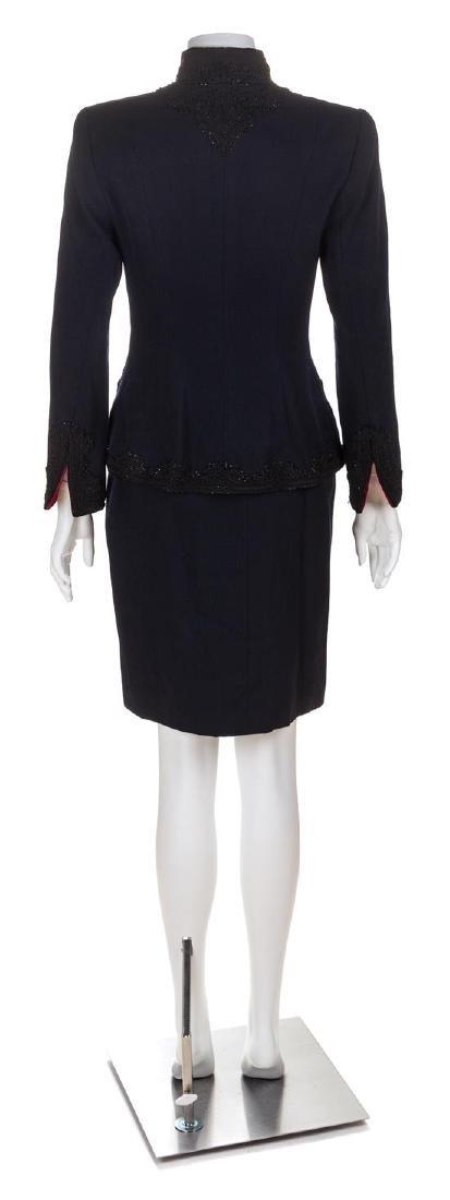 An Oscar de la Renta Navy Wool Skirt Suit, Size 6. - 2