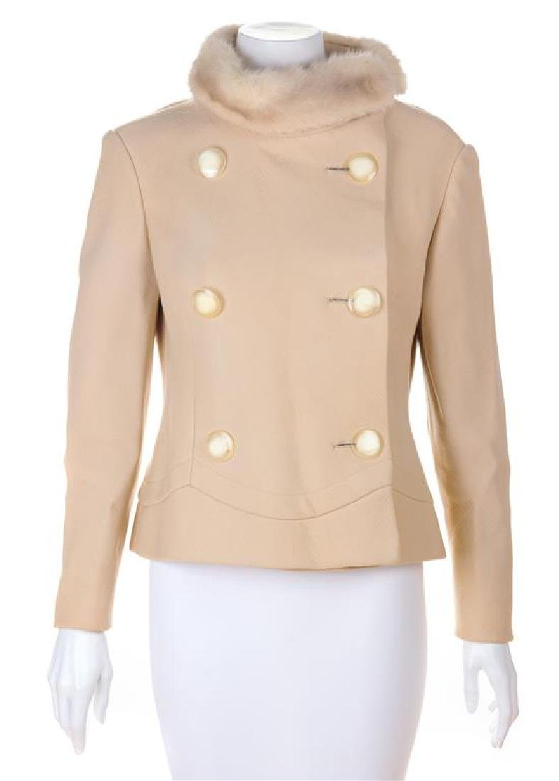 A Pierre Cardin Cream Wool Double Breasted Jacket, No