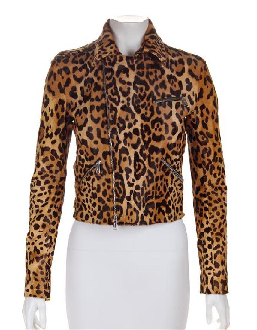 A Ralph Lauren Calf Hair Animal Print Moto Jacket, Size