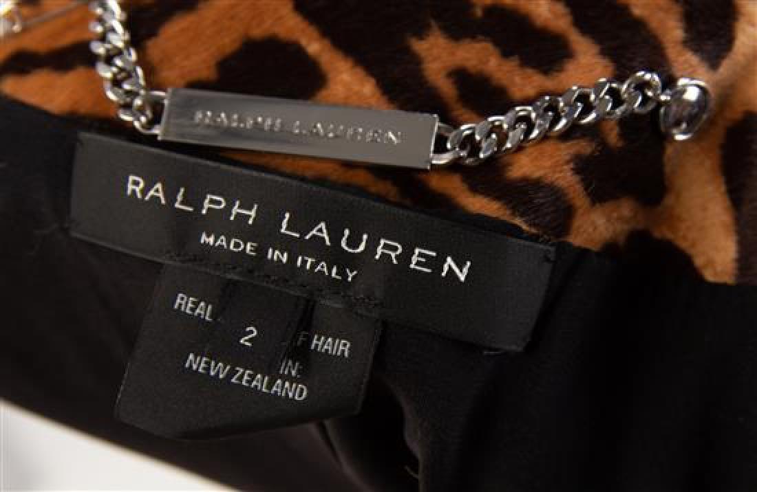 A Ralph Lauren Calf Hair Animal Print Moto Jacket, Size - 2