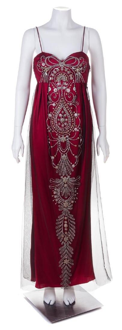 A Reem Acra Red Silk Evening Gown, Size 8.