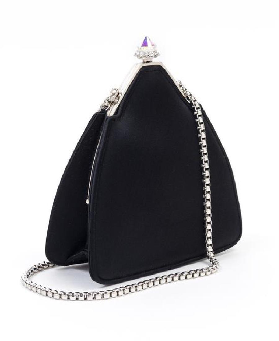 "A Judith Leiber Black Satin Pyramid Handbag, 5.5"" x - 2"