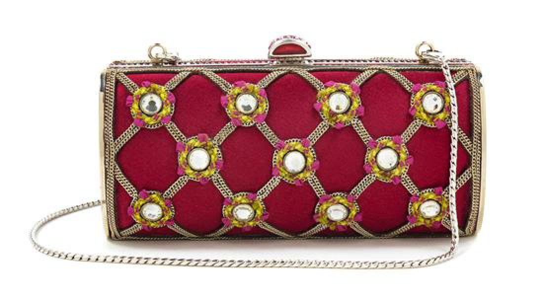 A Judith Leiber Red Satin and Chain Motif Clutch, 5.25""