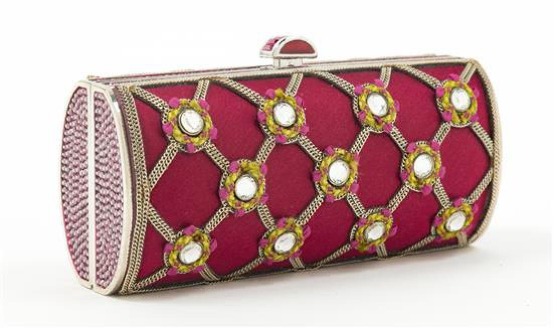"A Judith Leiber Red Satin and Chain Motif Clutch, 5.25"" - 2"