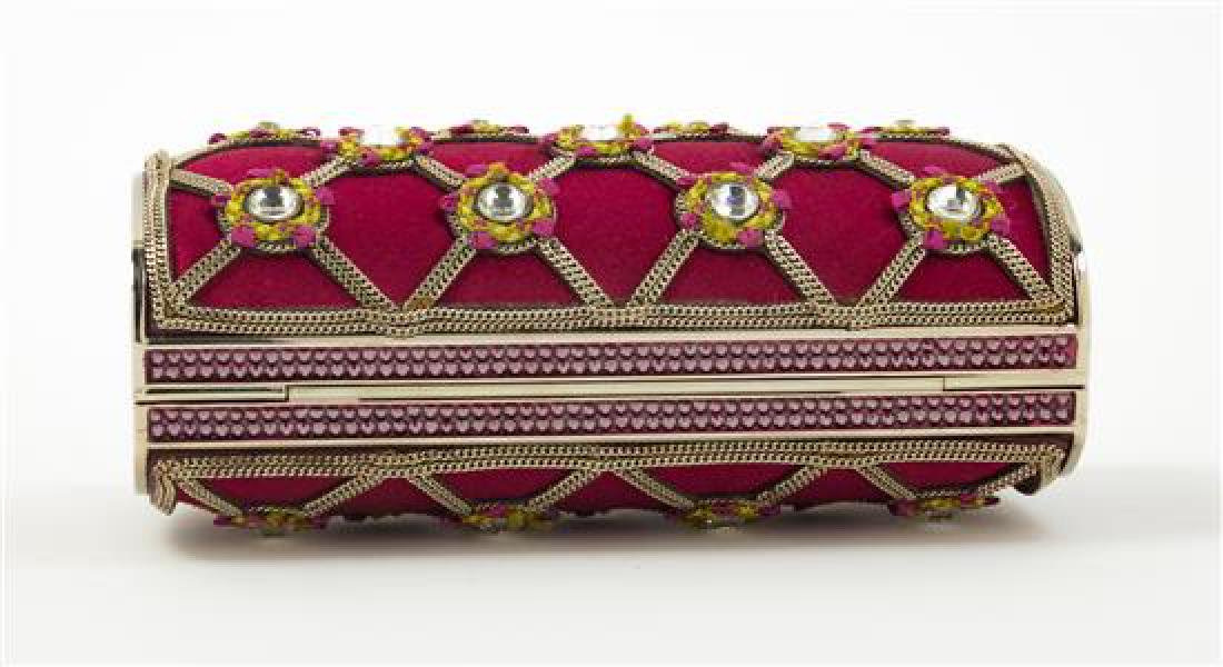 "A Judith Leiber Red Satin and Chain Motif Clutch, 5.25"" - 3"
