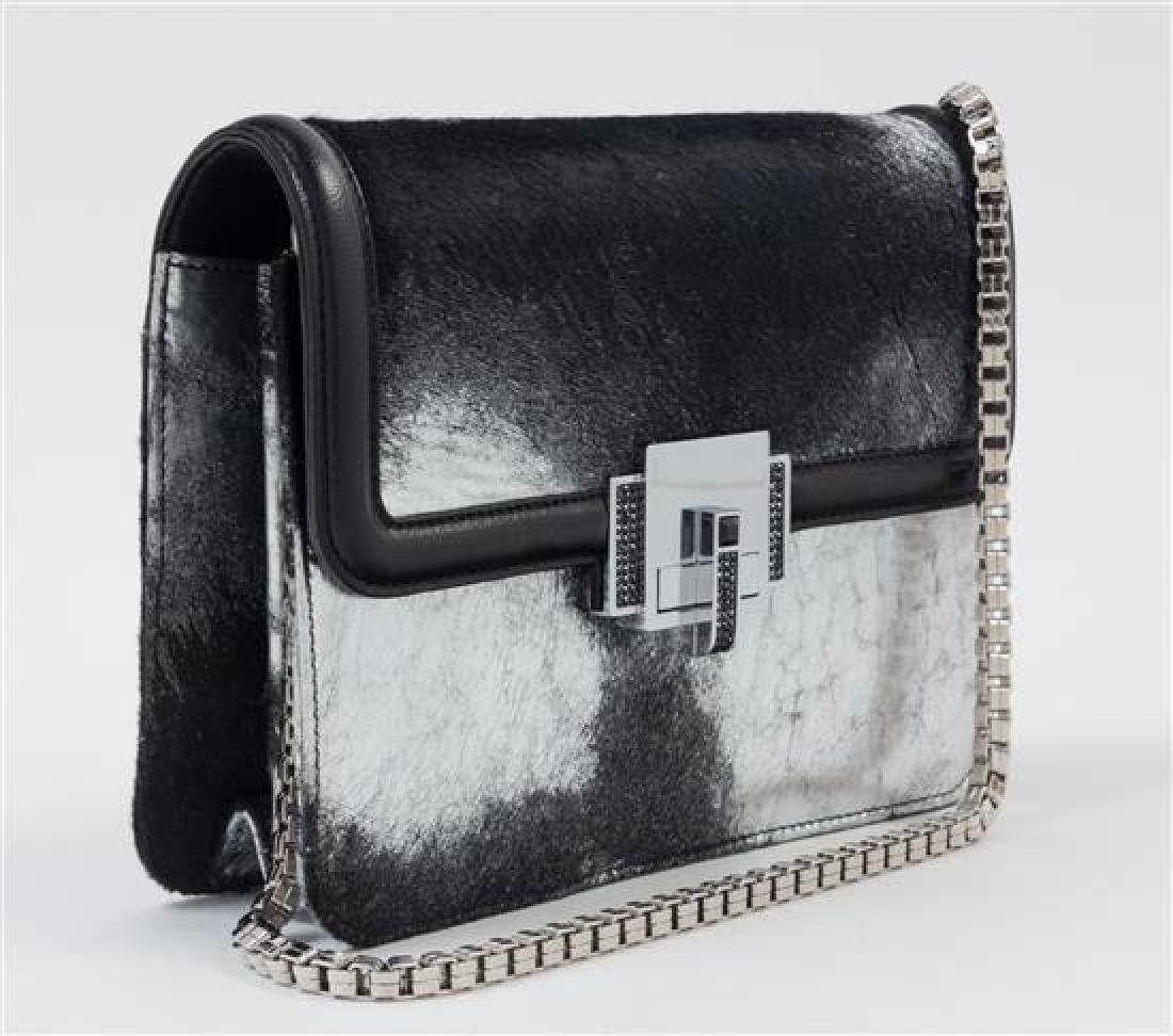 * A Judith Leiber Black and Silver Leather and Calf - 3