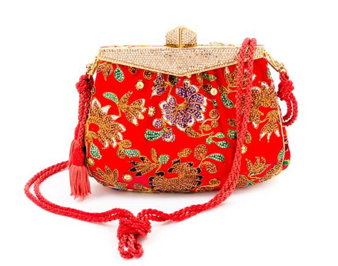 A Judith Leiber Red Satin Crystal Embroidered Evening