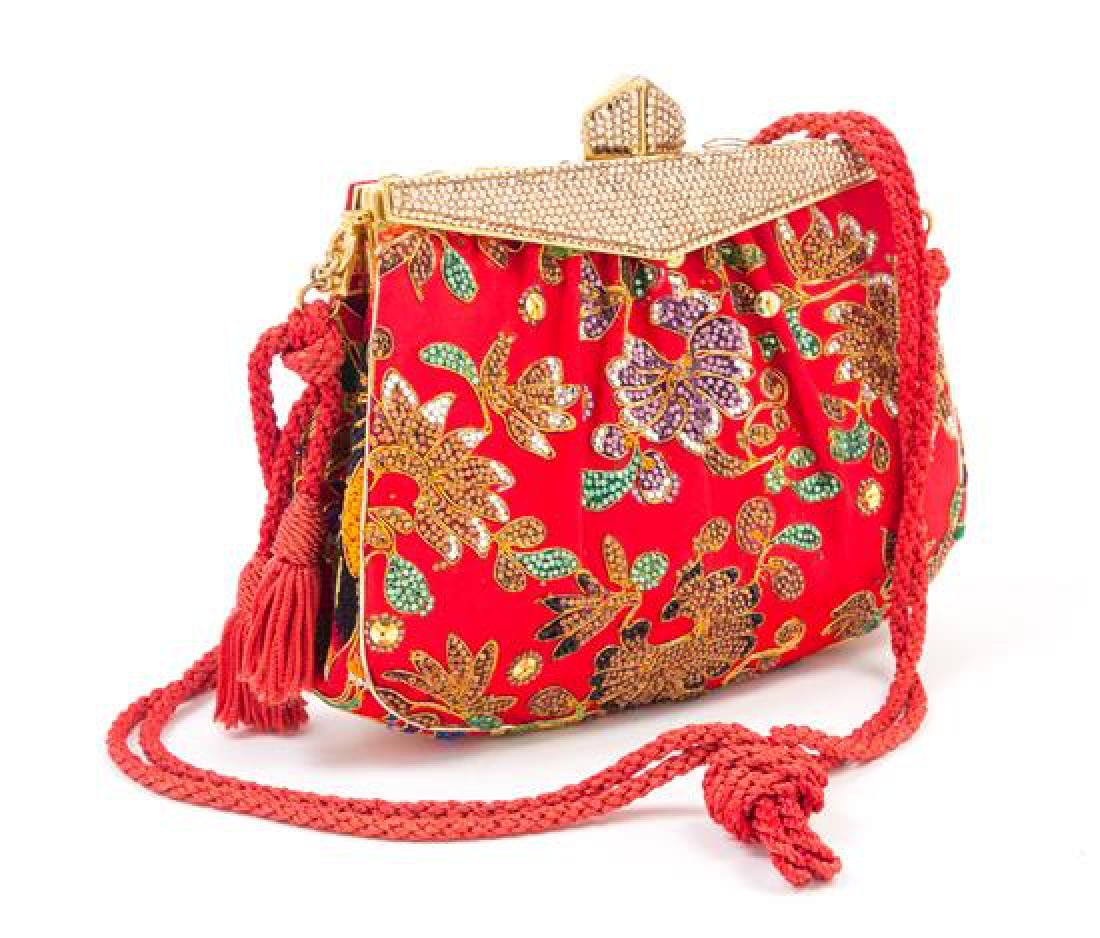 A Judith Leiber Red Satin Crystal Embroidered Evening - 2