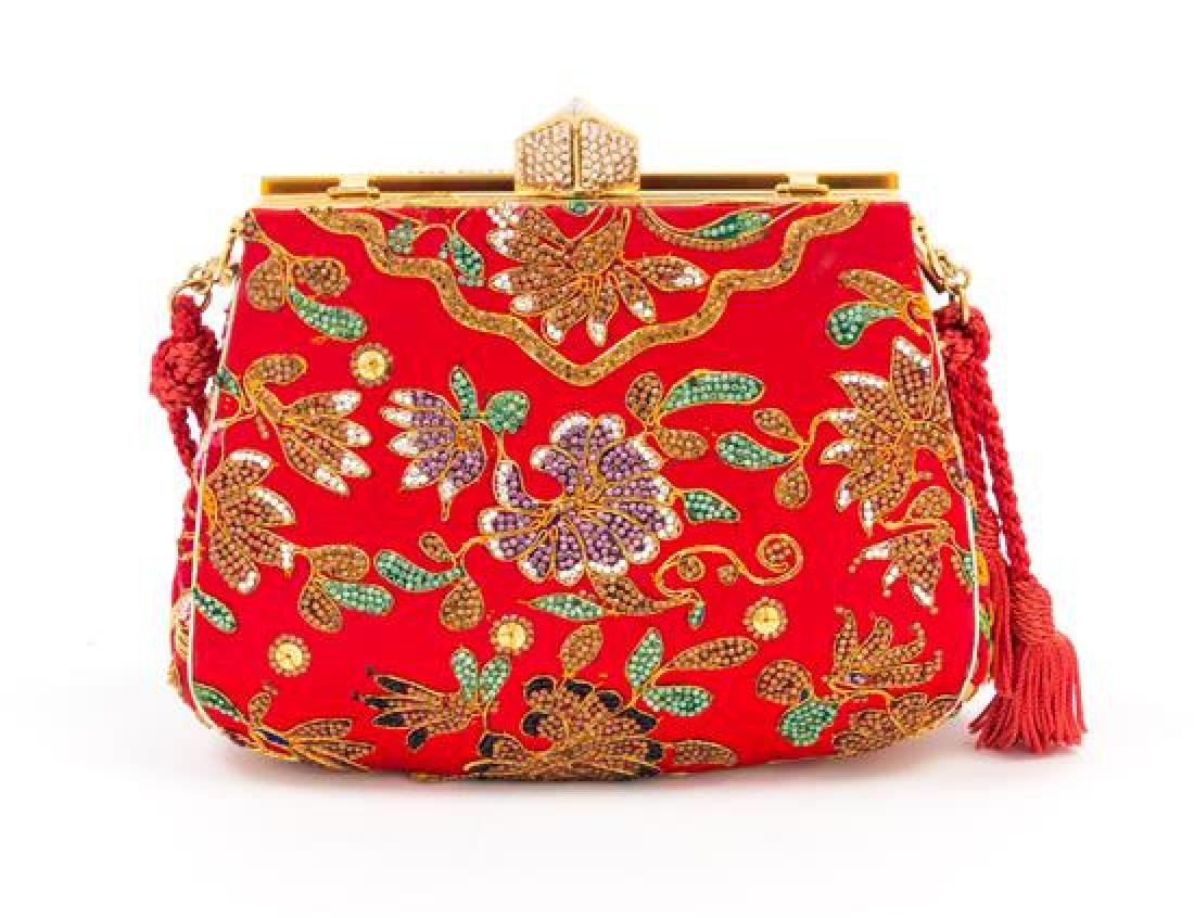 A Judith Leiber Red Satin Crystal Embroidered Evening - 3