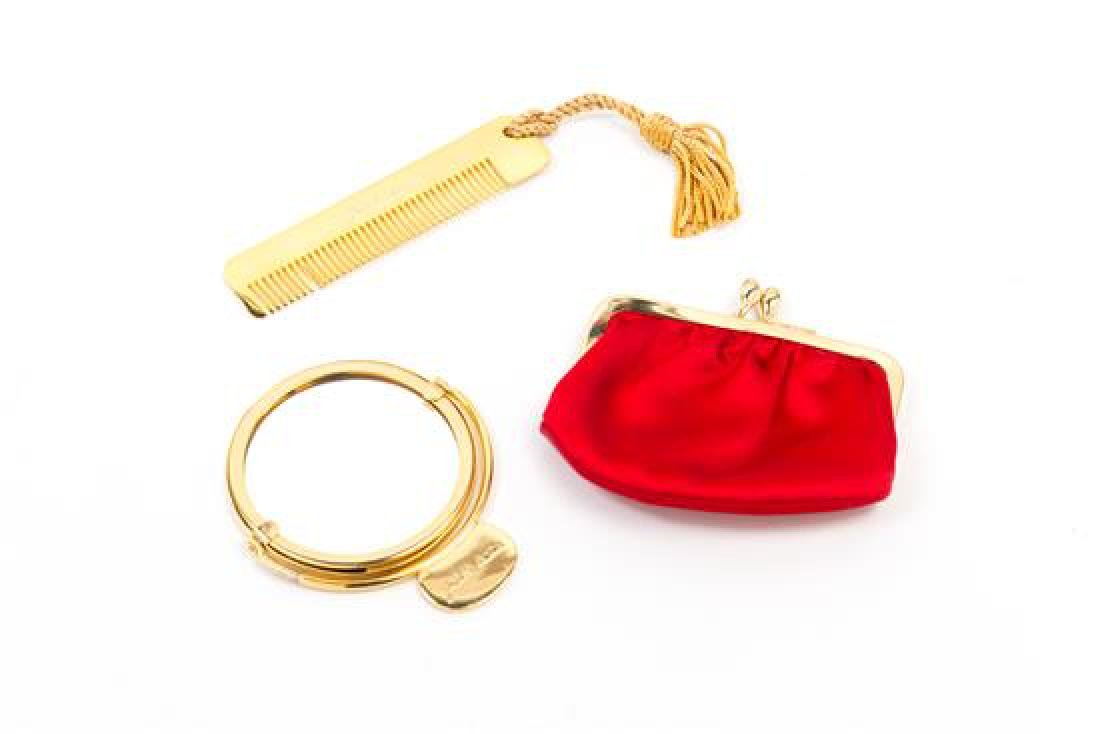 A Judith Leiber Red Satin Crystal Embroidered Evening - 4