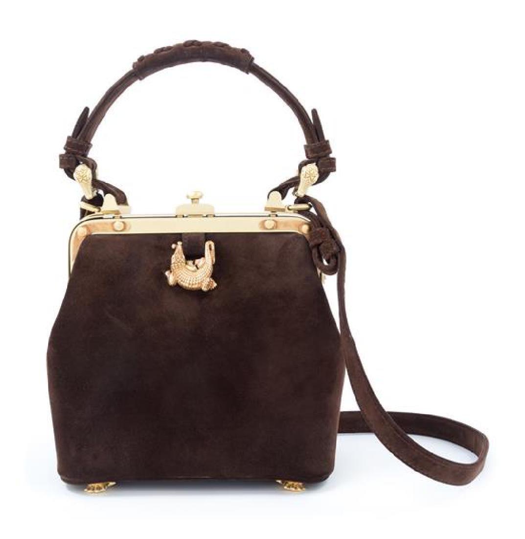 "A Kieselstein-Cord Brown Suede Handbag, 7.5"" x 6.5"" x"