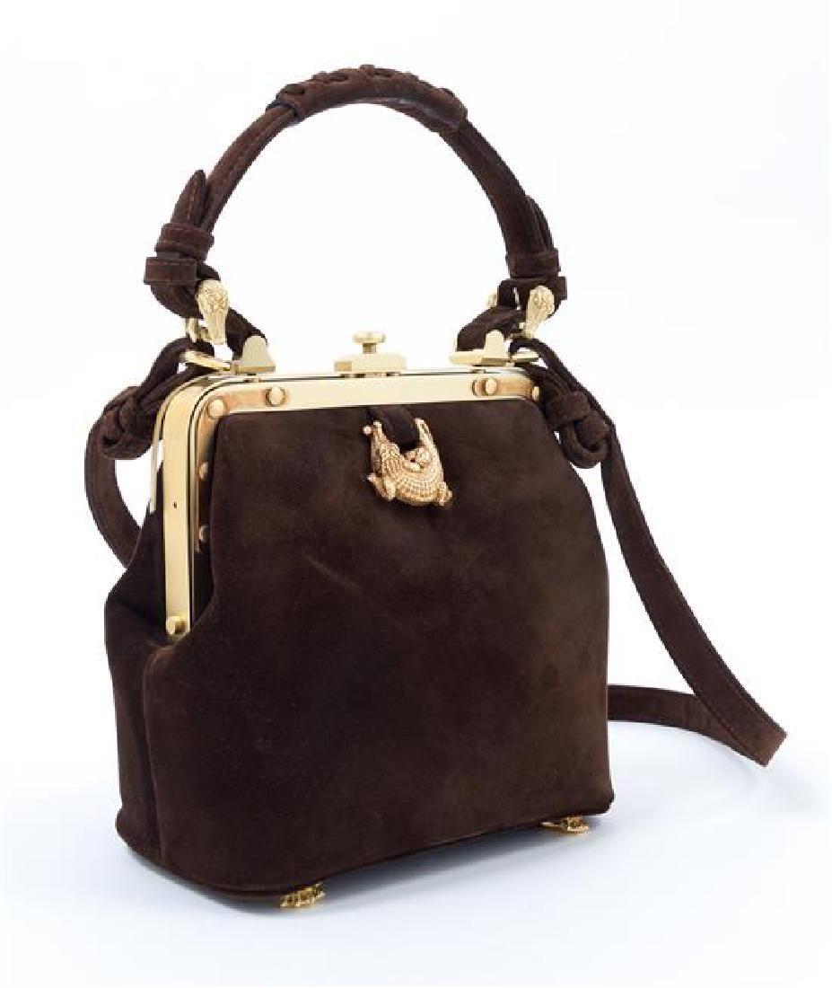 "A Kieselstein-Cord Brown Suede Handbag, 7.5"" x 6.5"" x - 2"