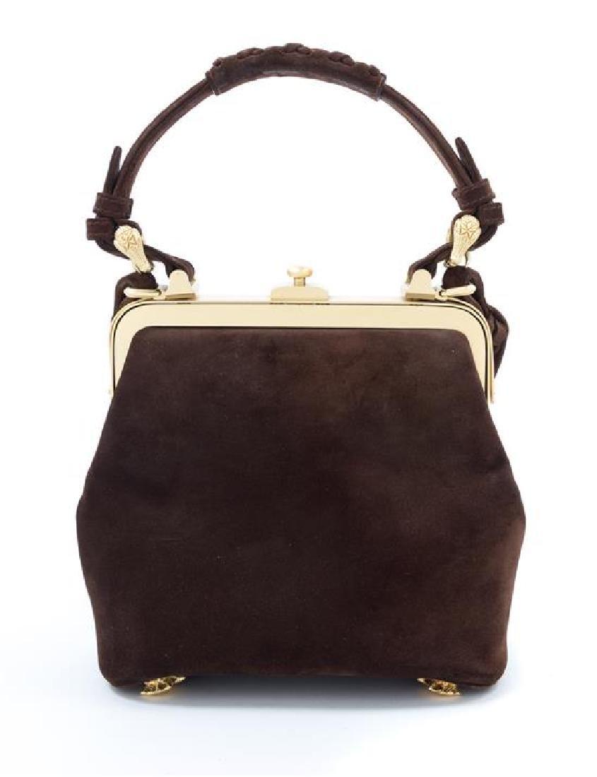 "A Kieselstein-Cord Brown Suede Handbag, 7.5"" x 6.5"" x - 3"