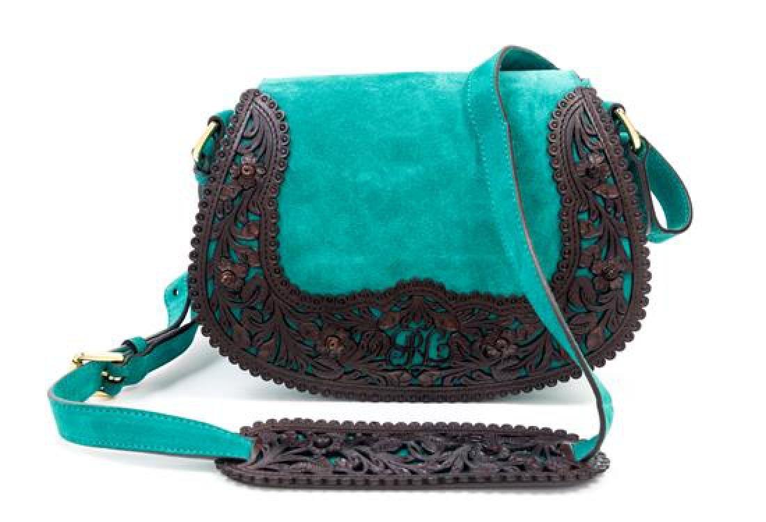 "A Ralph Lauren Green Suede Flap Shoulder Bag, 9"" x 7"" x"