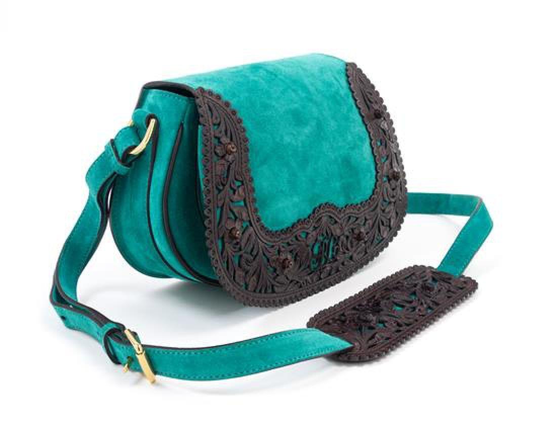 "A Ralph Lauren Green Suede Flap Shoulder Bag, 9"" x 7"" x - 3"