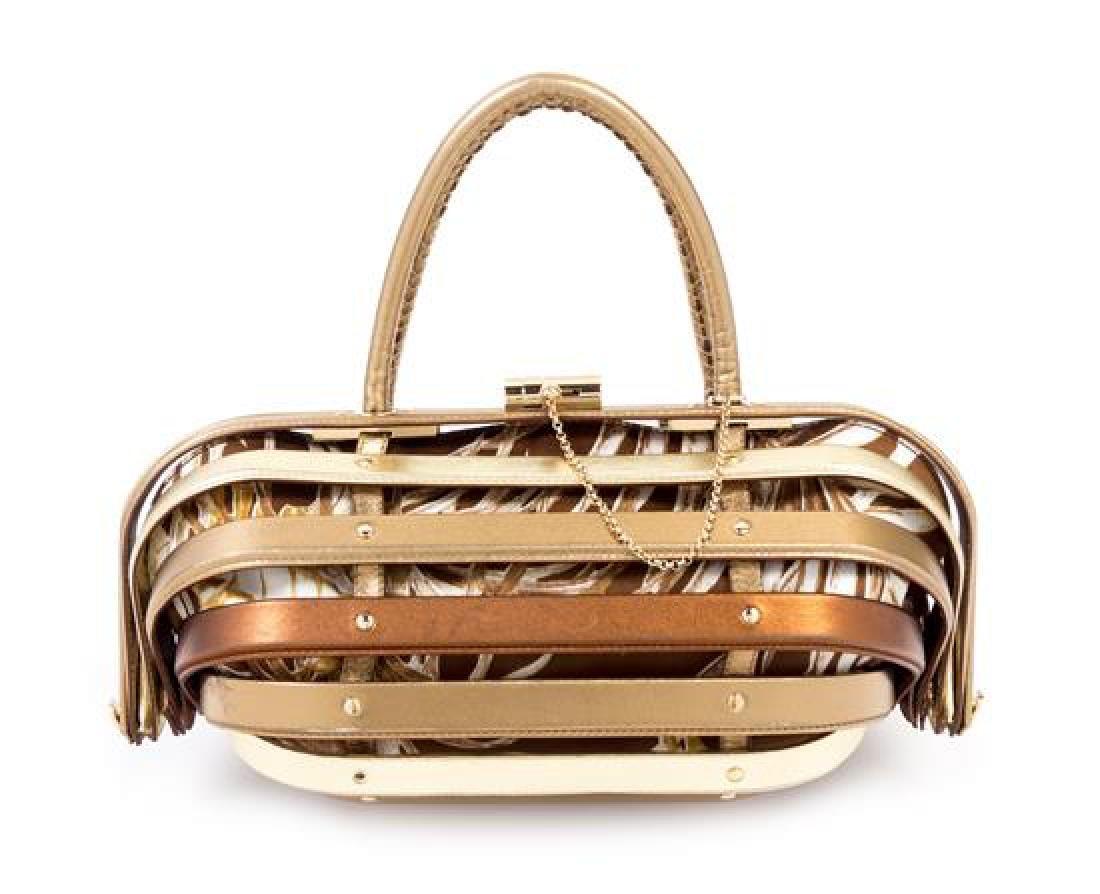 """* A Salvatore Ferragamo Gold and Bronze Leather """"Cage"""""""