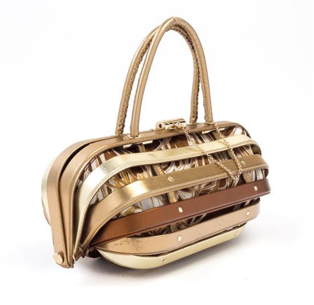 """* A Salvatore Ferragamo Gold and Bronze Leather """"Cage"""" - 2"""
