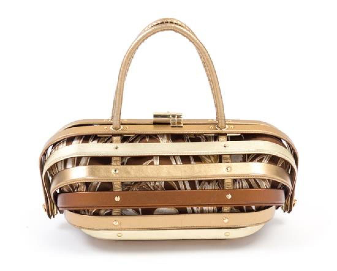 """* A Salvatore Ferragamo Gold and Bronze Leather """"Cage"""" - 3"""