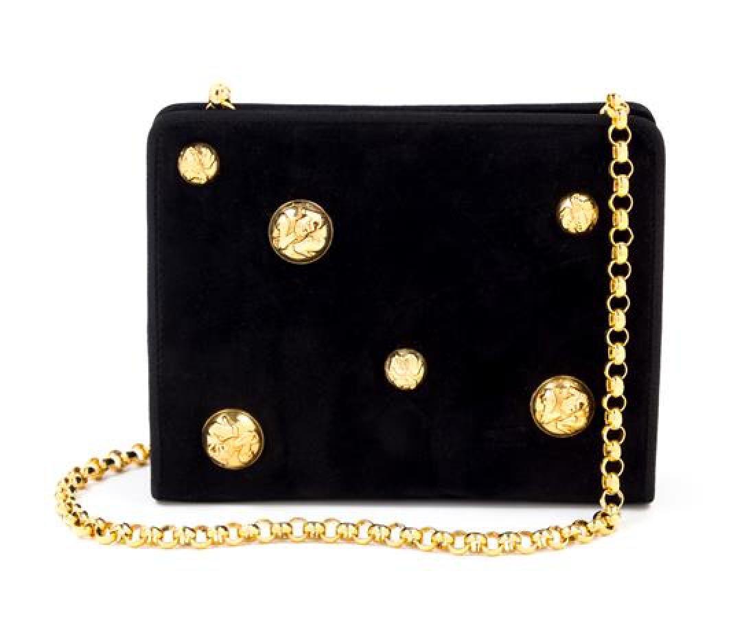 """A Salvatore Ferragamo Black Suede Handbag, 7.5"""" x 6"""" x"""