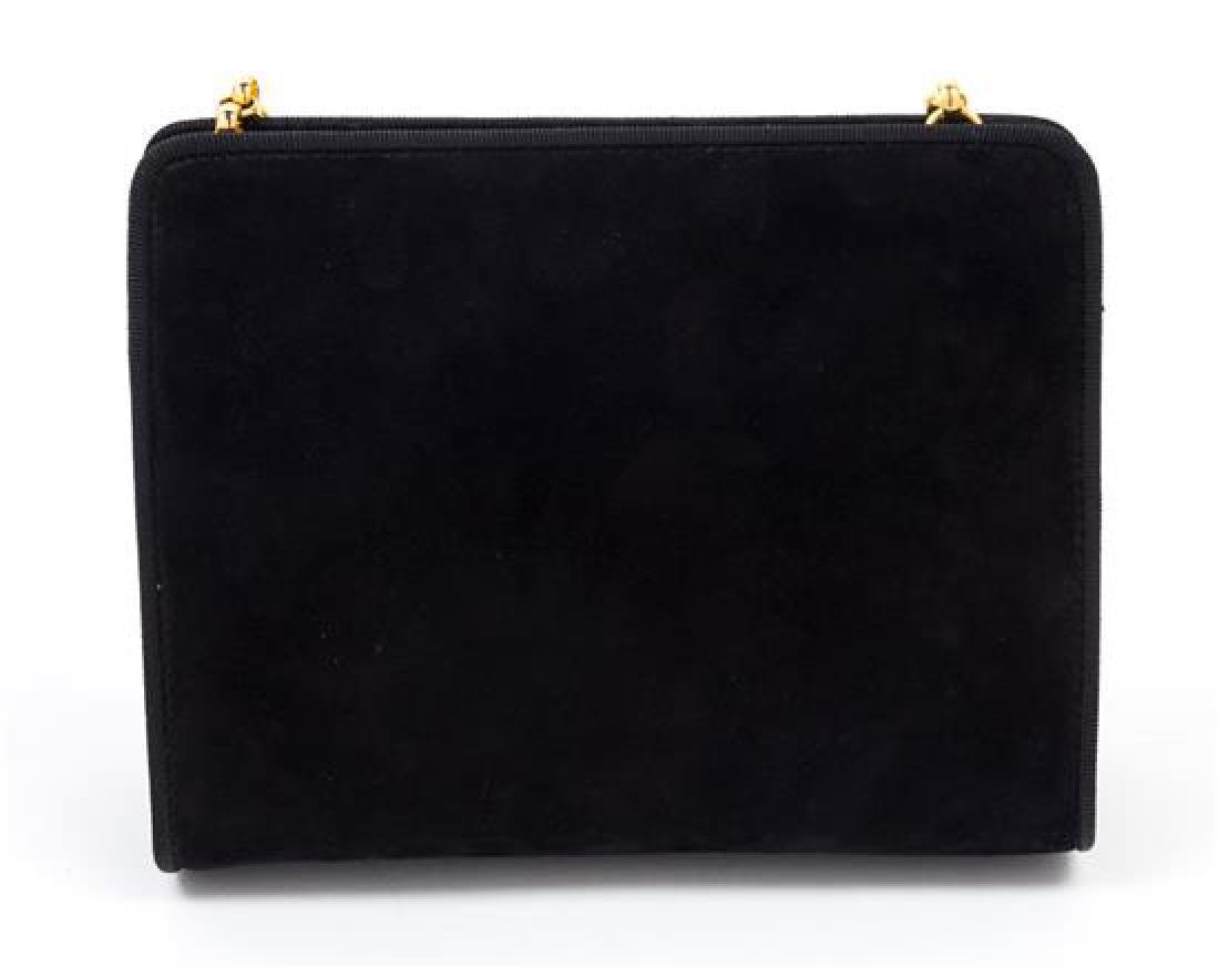 """A Salvatore Ferragamo Black Suede Handbag, 7.5"""" x 6"""" x - 2"""