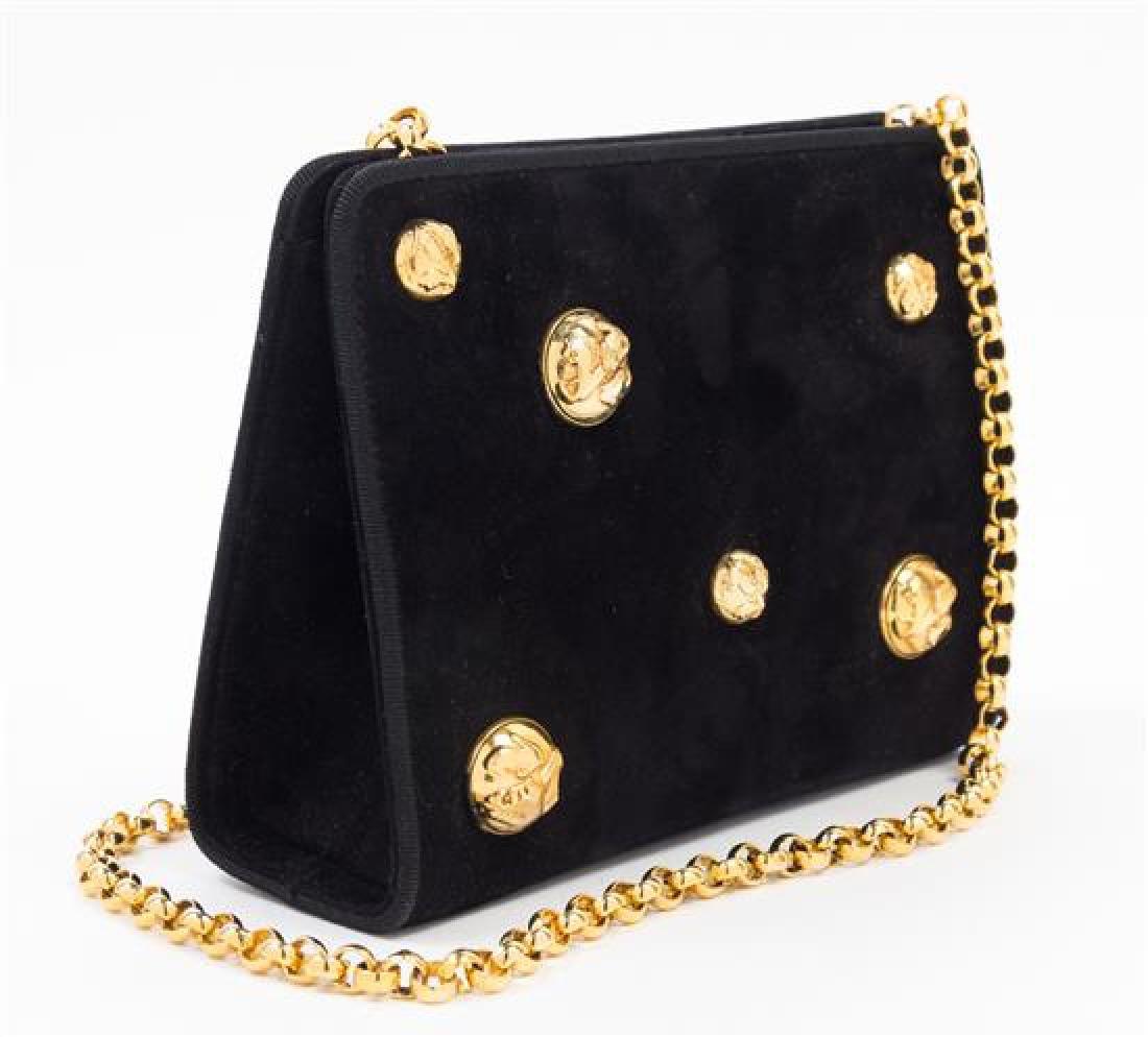 """A Salvatore Ferragamo Black Suede Handbag, 7.5"""" x 6"""" x - 3"""