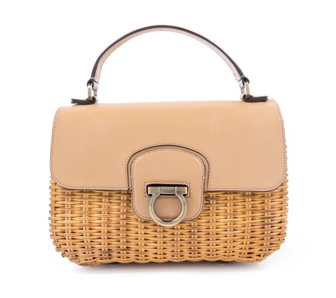 A Salvatore Ferragamo Tan Leather and Wicker Handbag,