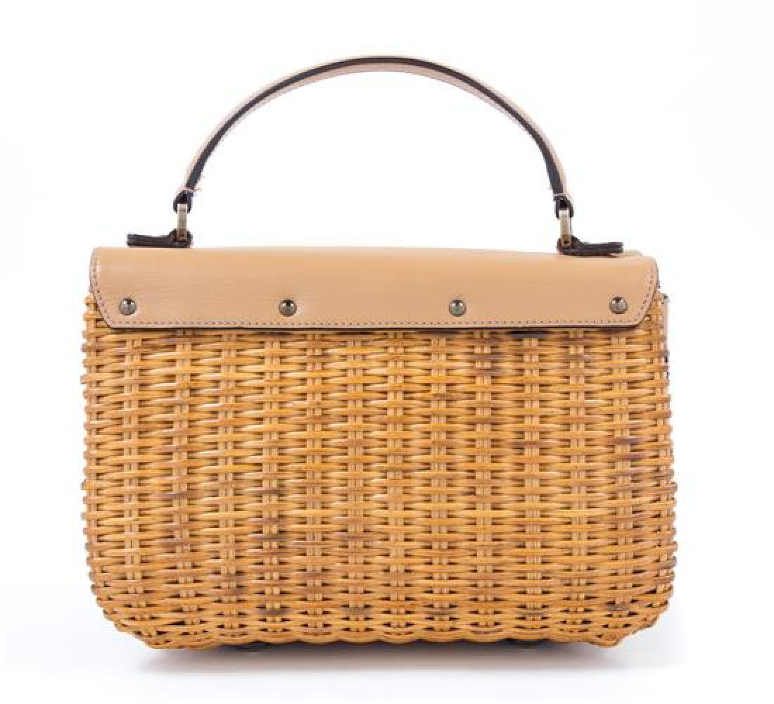 A Salvatore Ferragamo Tan Leather and Wicker Handbag, - 2