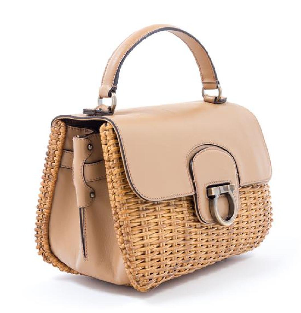 A Salvatore Ferragamo Tan Leather and Wicker Handbag, - 3