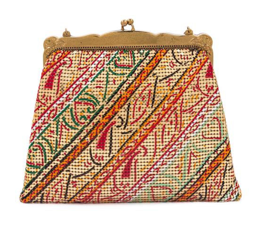 """A Whiting and Davis Gold Mesh Painted Handbag, 8"""" x"""