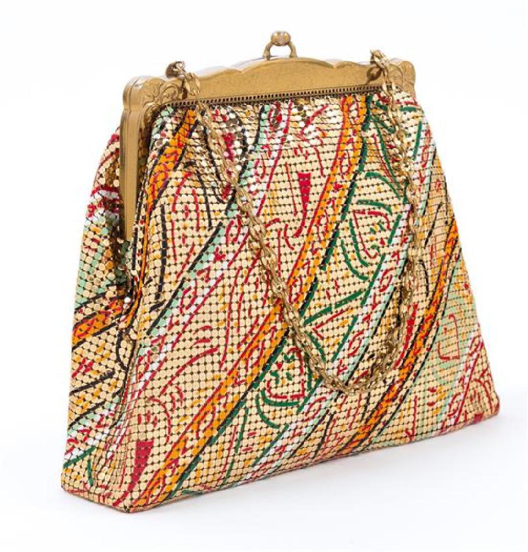 """A Whiting and Davis Gold Mesh Painted Handbag, 8"""" x - 2"""