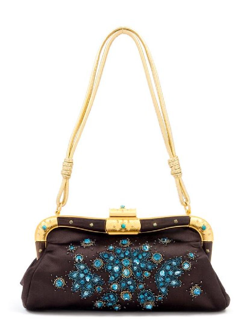 "A Valentino Brown Silk Embroidered Bag, 10: x 6.5"" x"
