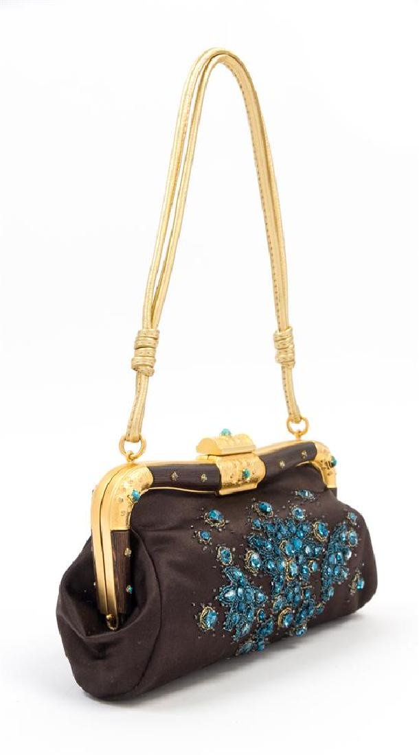 "A Valentino Brown Silk Embroidered Bag, 10: x 6.5"" x - 2"
