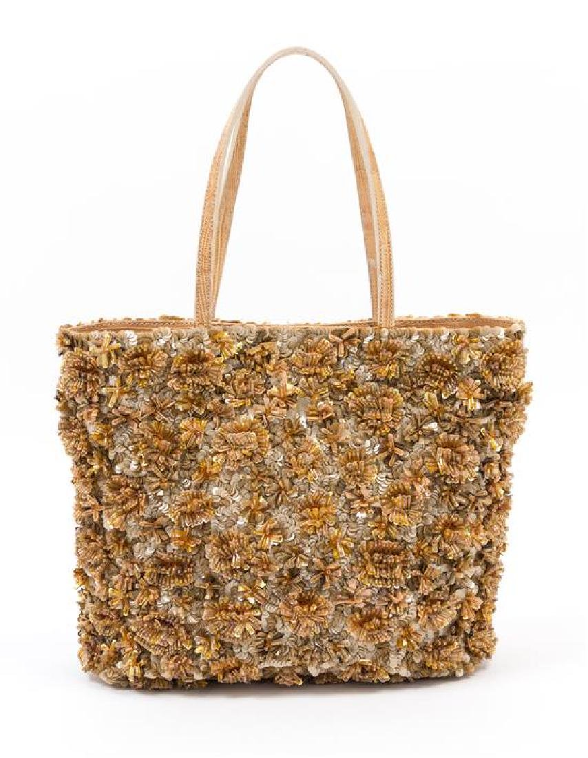 "* A Valentino Bronze Sequin and Beaded Tote Bag, 10"" x - 3"