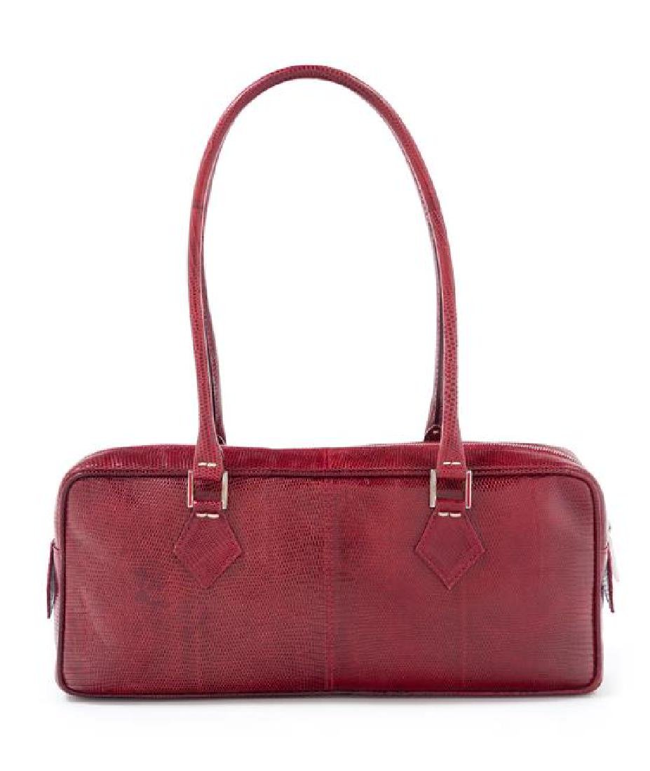 "* A Valentino Red Leather Snakeskin Shoulder Bag, 12"" x"