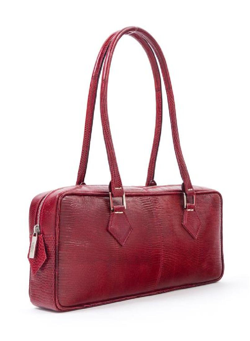 "* A Valentino Red Leather Snakeskin Shoulder Bag, 12"" x - 2"