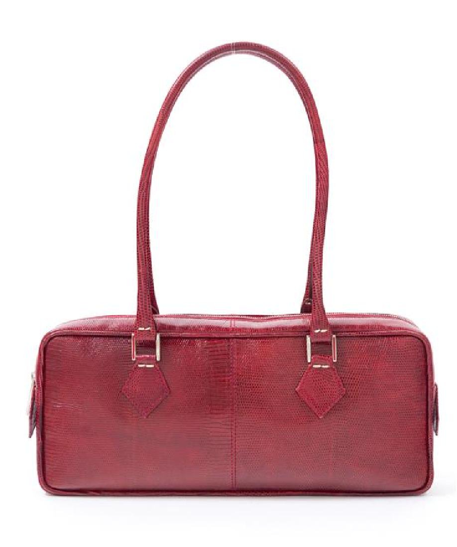 "* A Valentino Red Leather Snakeskin Shoulder Bag, 12"" x - 3"