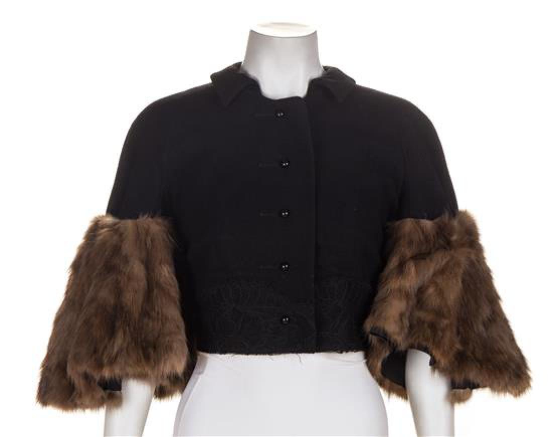 A Rochas Black Wool Capelet with Sable Trim, Size 42.