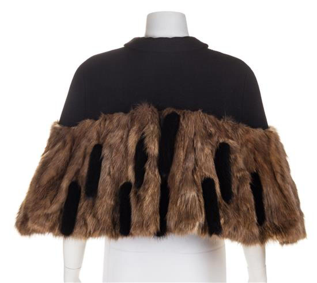 A Rochas Black Wool Capelet with Sable Trim, Size 42. - 2